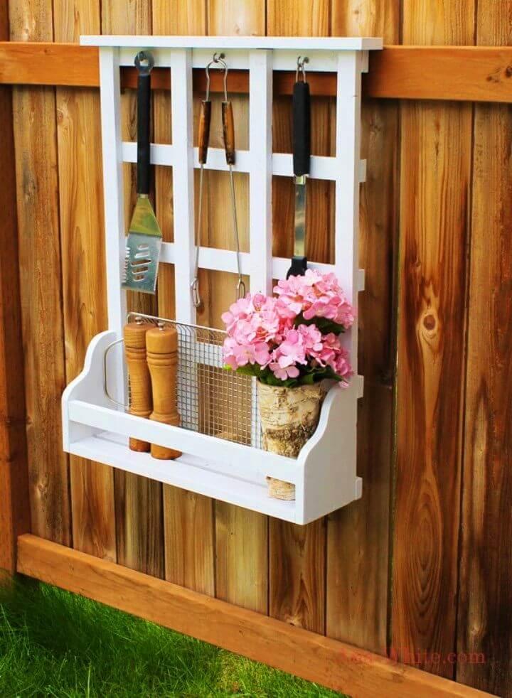 DIY Outdoor Window Shelf with Lattice