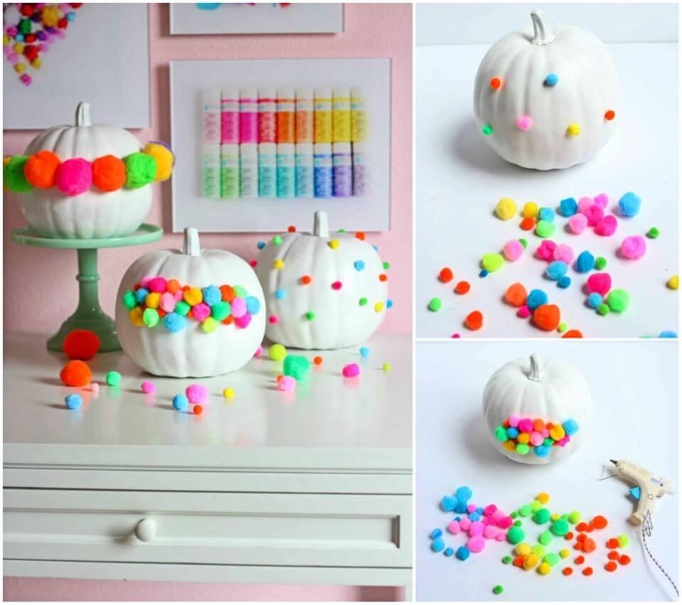 DIY Pom pom Decorated Pumpkins