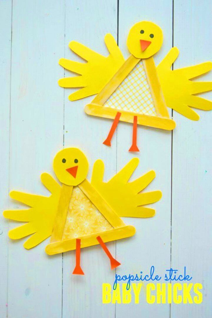 DIY Popsicle Stick Baby Chick for Spring