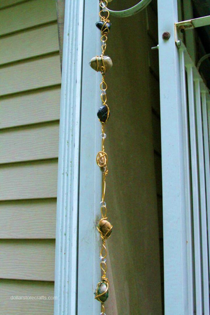 DIY Rain Chain From Wire wrapped Rock