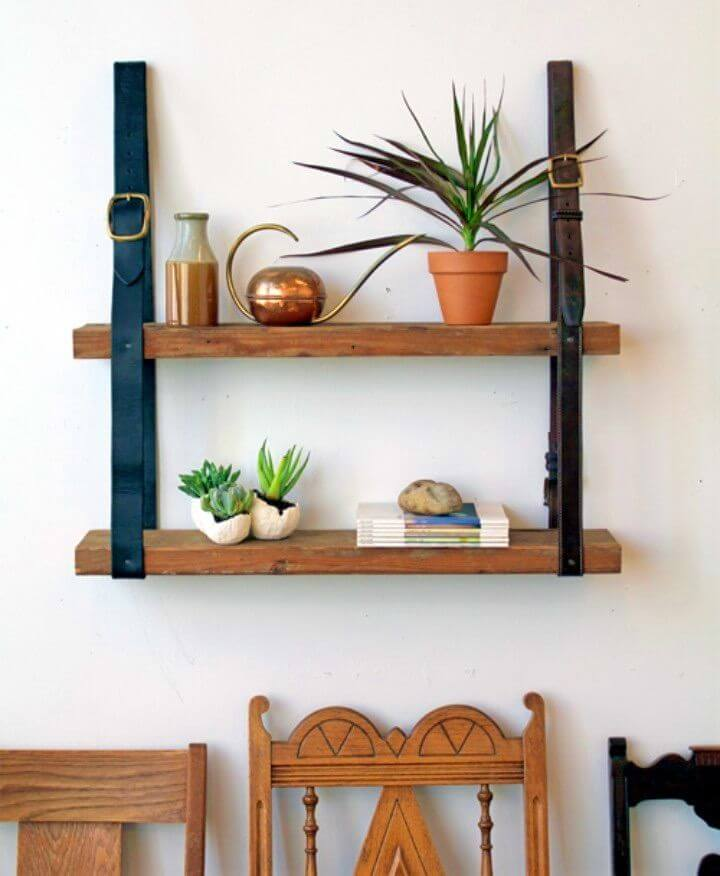 DIY Recycled Leather Wood Shelf Project
