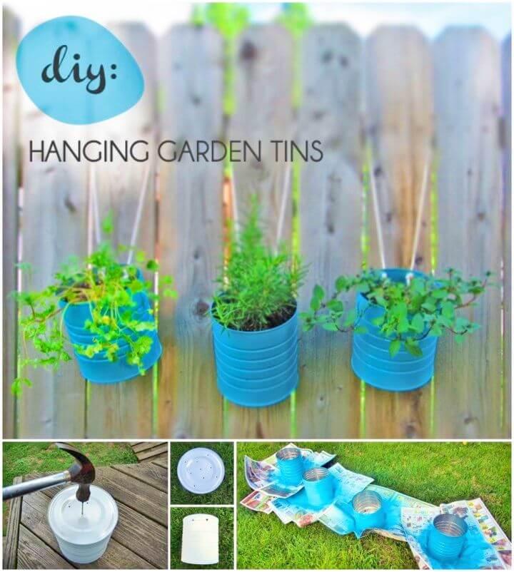 DIY Recycled Tins Hanging Flower