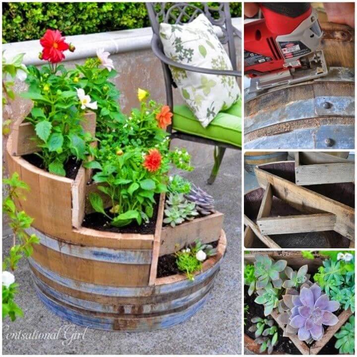 DIY Recycled Wine Barrel Planter