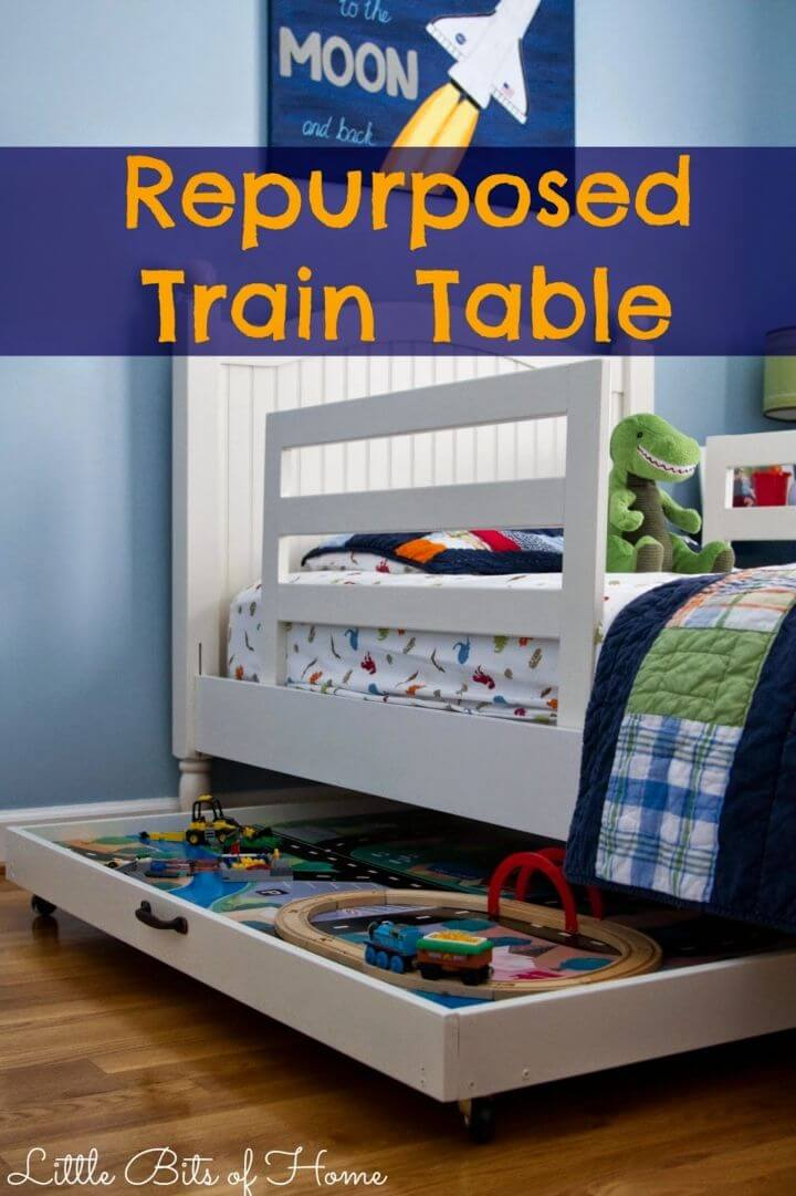 DIY Repurposed Train Table Toy Storage Solution