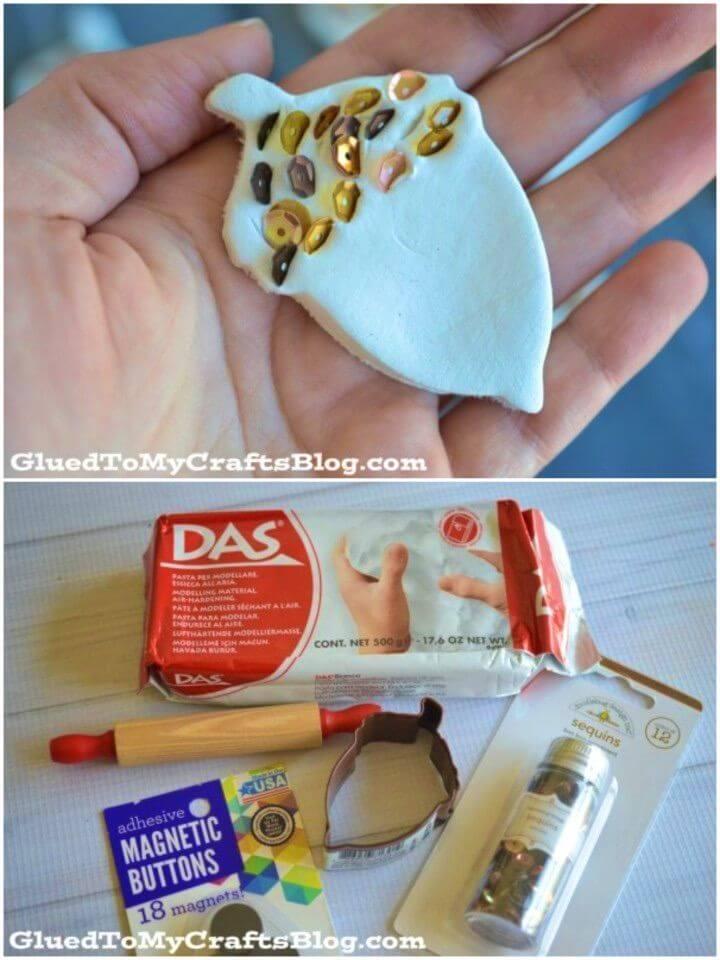 DIY Sequin Acorn Magnets