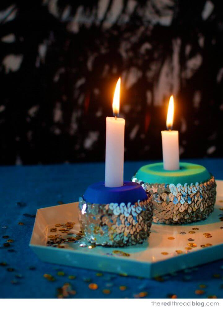 DIY Sequin Candle Holders For Your Festive Table