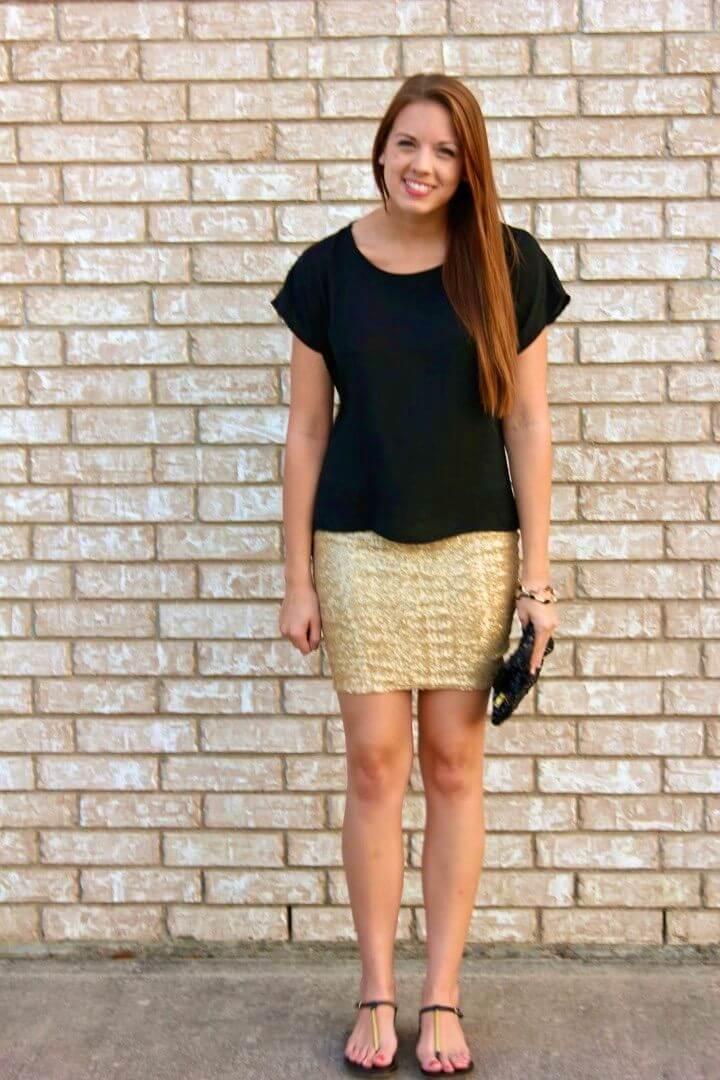 DIY Sequin Mini Skirt Black White Outfit