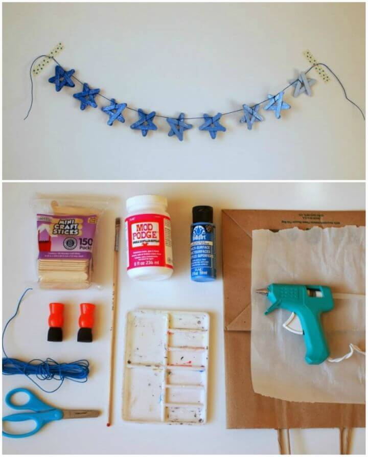 DIY Sparkly Ombre Popsicle Stick Star Garland