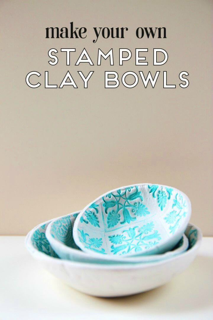 DIY Stamped Clay Bowls Using Air Dry Clay