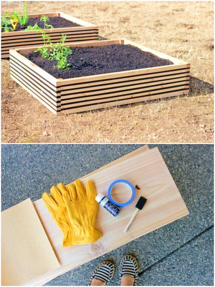 DIY Striped Raised Garden Beds