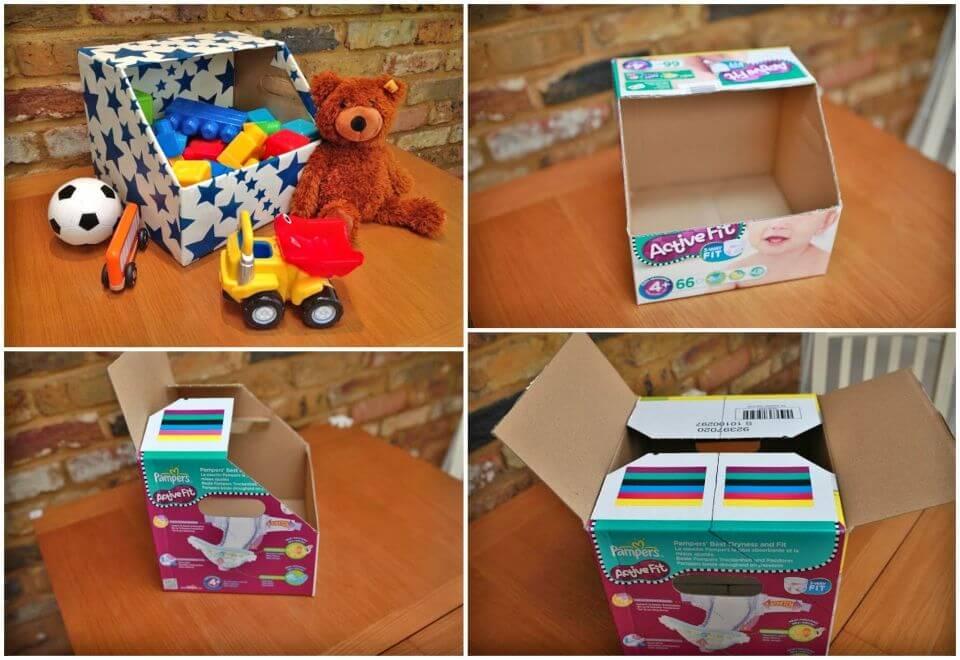 DIY Toy Bin Storage Using Old Nappy Boxes