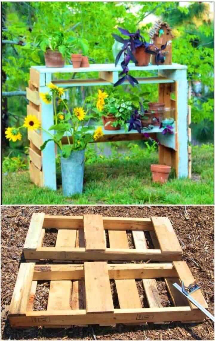 DIY Two Pallet Potting Bench