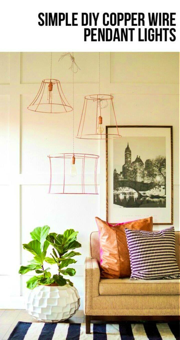 DIY Upcycled Copper Wire Pendant Lights