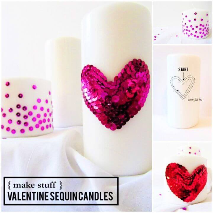 DIY Valentine Sequin Candles
