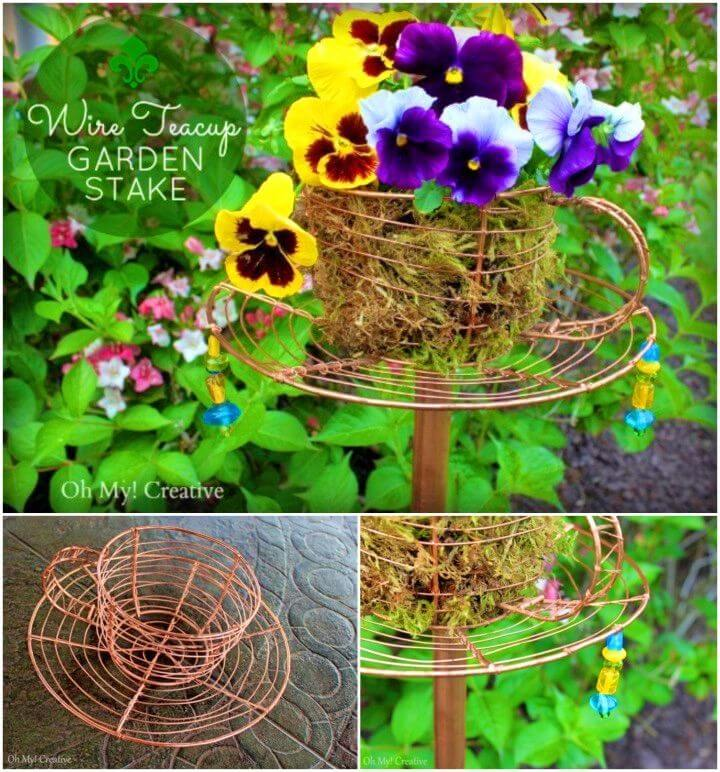 DIY Wire Teacup Garden Stake