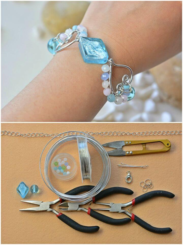 DIY Wire Wrapping Heart Beaded Charms Bracelet