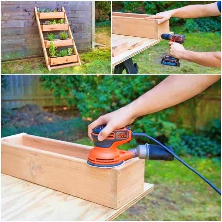 DIY Wooden Cedar Ladder Planter
