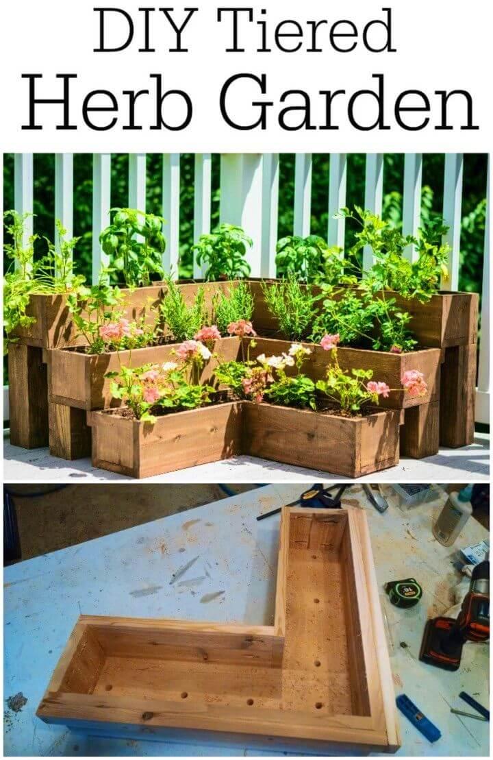 DIY Wooden Tiered Herb Garden