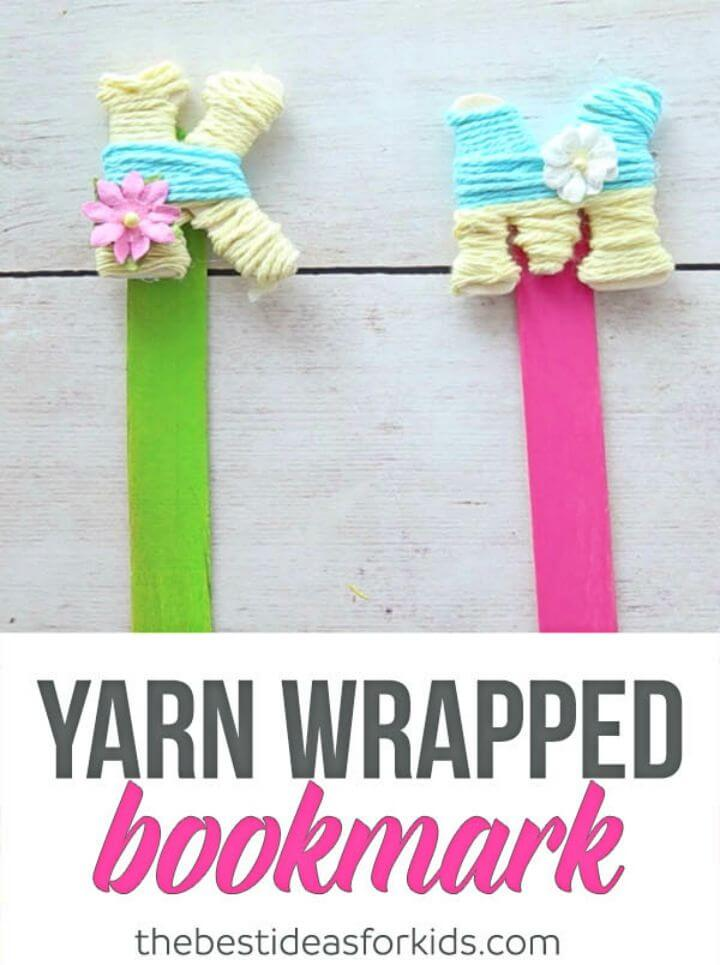 DIY Yarn Wrapped Letter Bookmarks