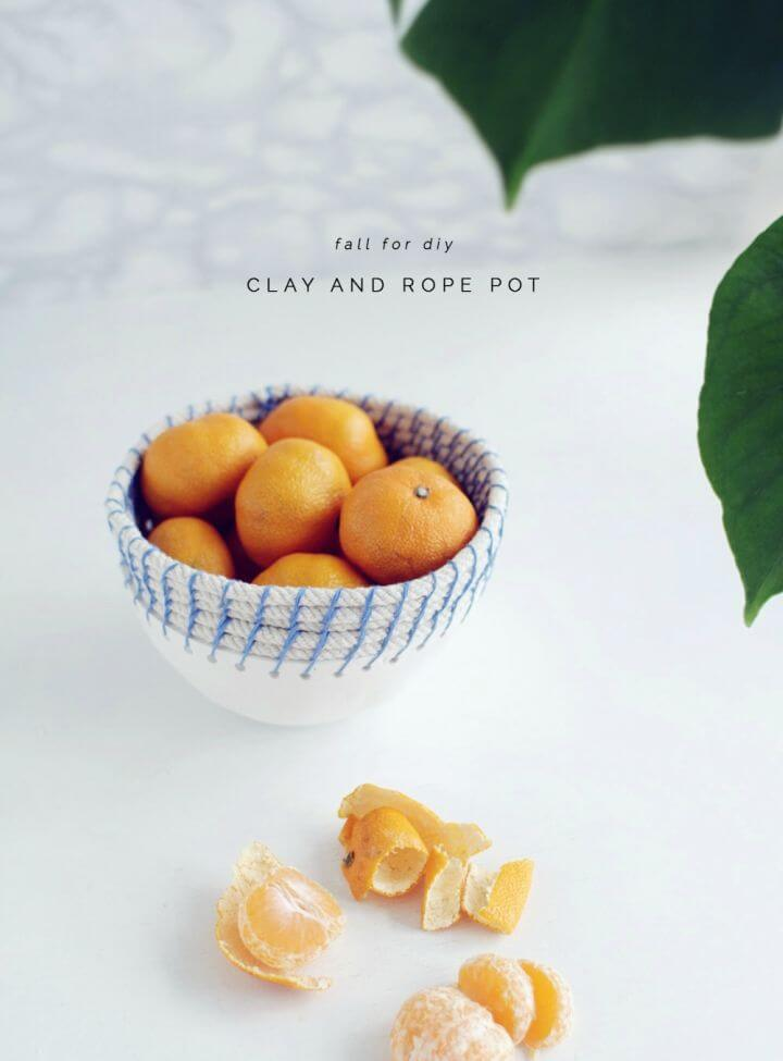 Easy DIY Air Dry Clay and Rope Pot
