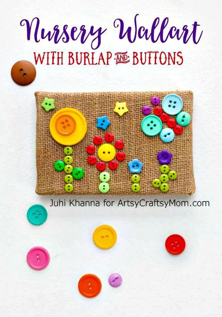 Easy DIY Burlap Button Flower Garden Wall Art