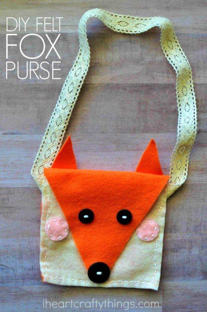 Easy DIY Felt Fox Purse Kids Sewing