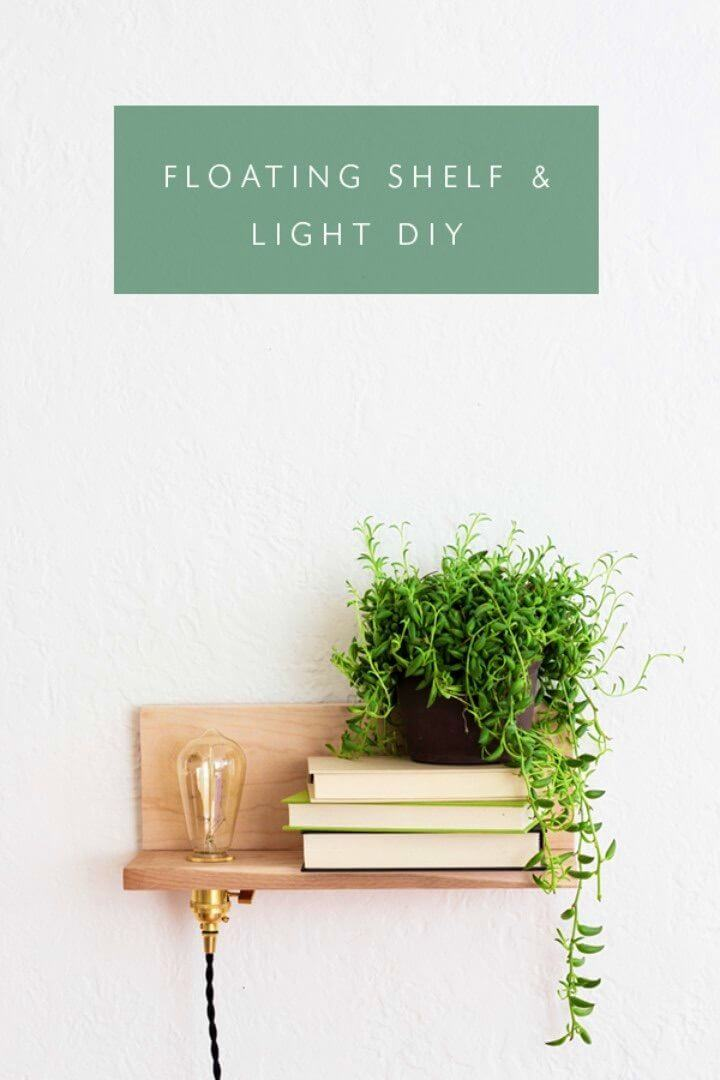 Easy DIY Floating Wood Brass Shelf With Built In Light