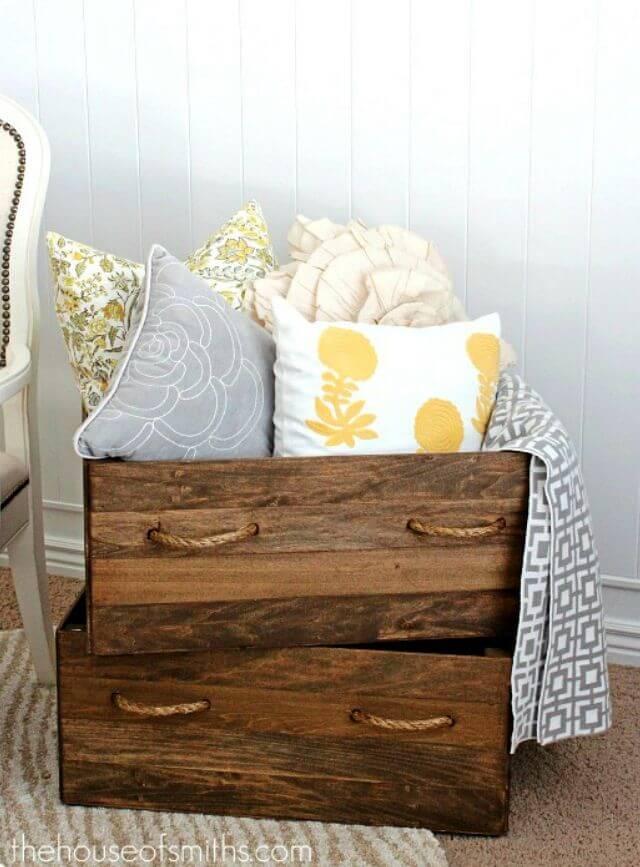 Easy DIY Homemade Vintage Wood Crate Storage Boxes