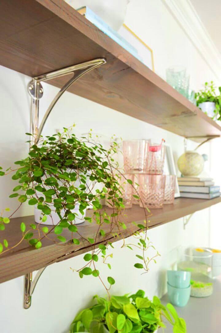 Easy DIY Long Reclaimed Wood Shelves