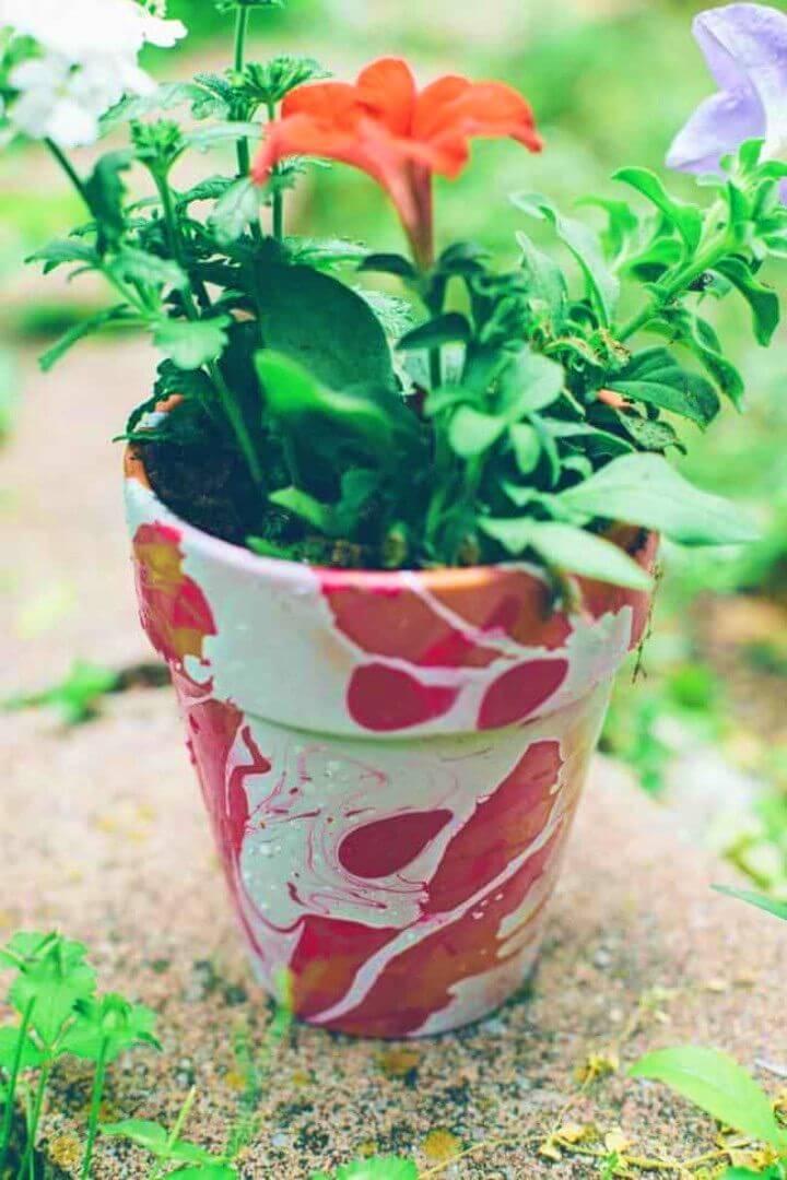 Easy DIY Nail Polish Marbled Planters