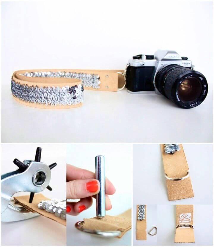 Easy DIY No Sew Sequin Camera Strap
