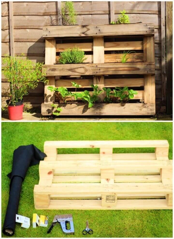 Easy DIY Outdoor Pallet Herb Planter