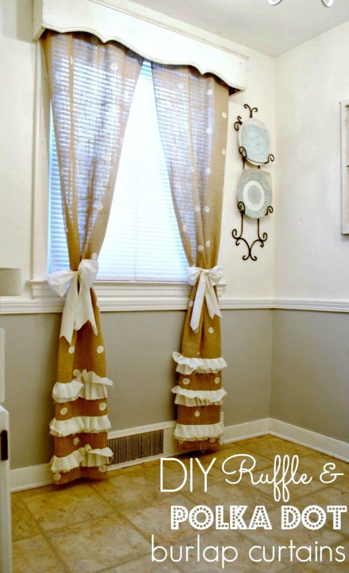Easy DIY Polka Dot Burlap Curtains