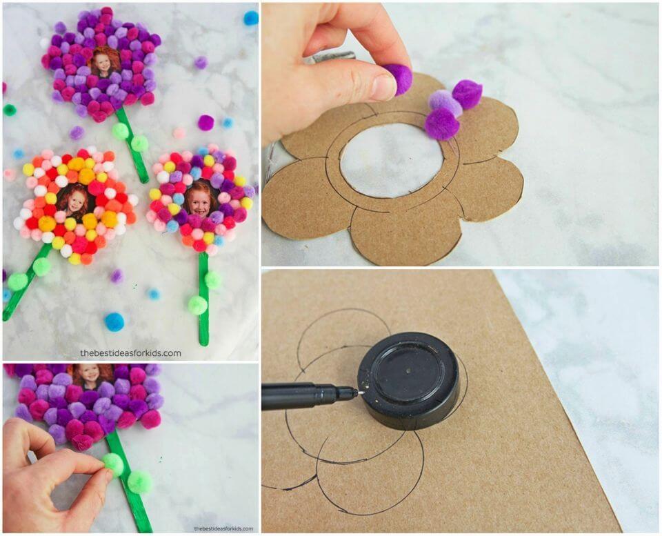 Easy DIY Pom Pom Flower Magnet
