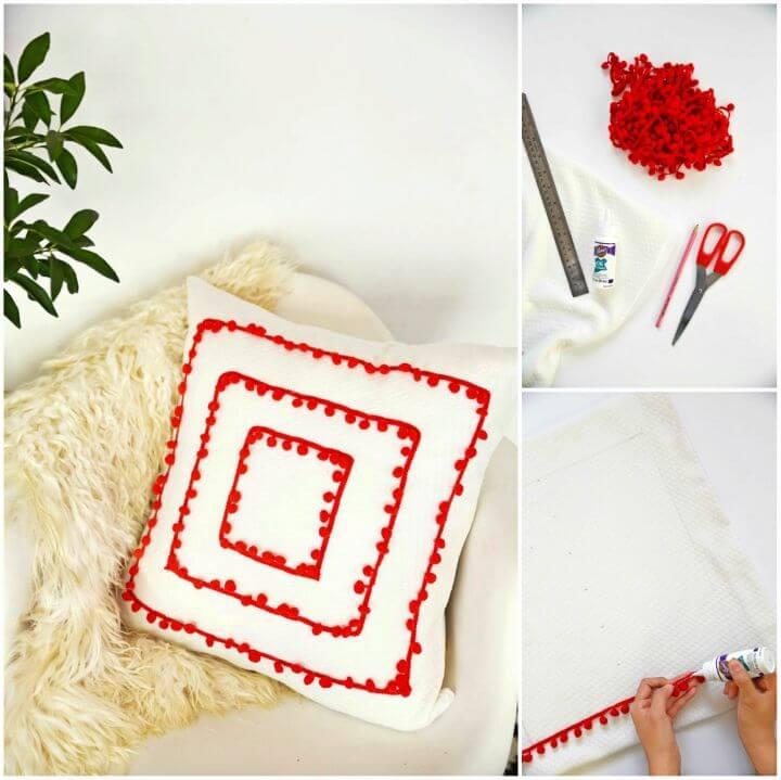 Easy DIY Pom Pom Trim Pillow