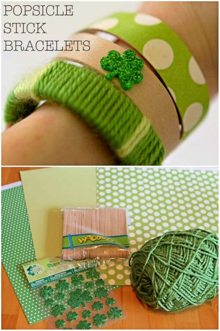 Easy DIY Popsicle Stick Bracelets for St Patrick's Day