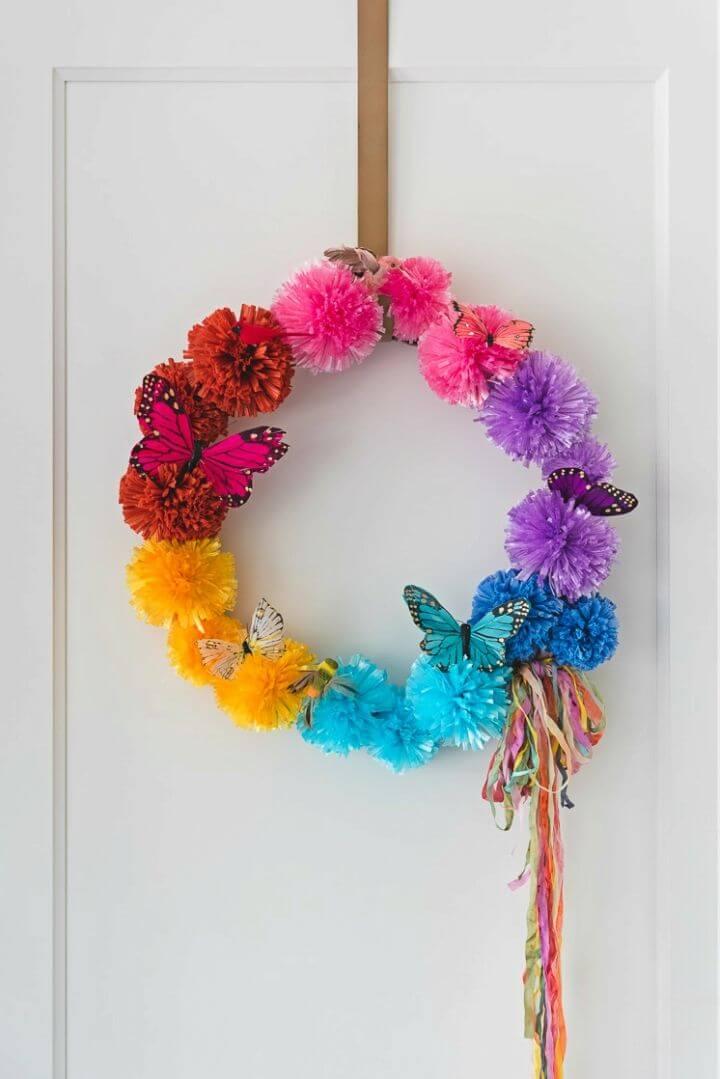 Easy DIY Raffia Pom Pom Wreath
