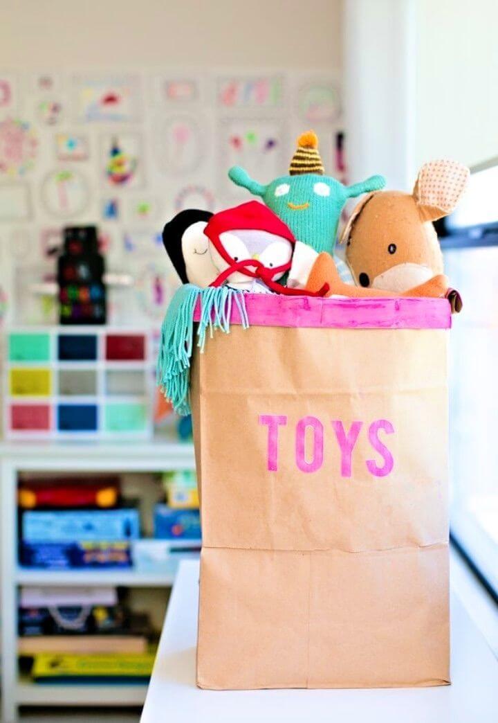 Easy DIY Recycled Toy Storage Bin