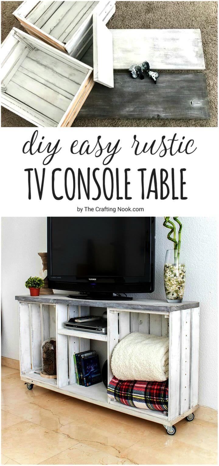 Easy DIY Rustic TV Console Table
