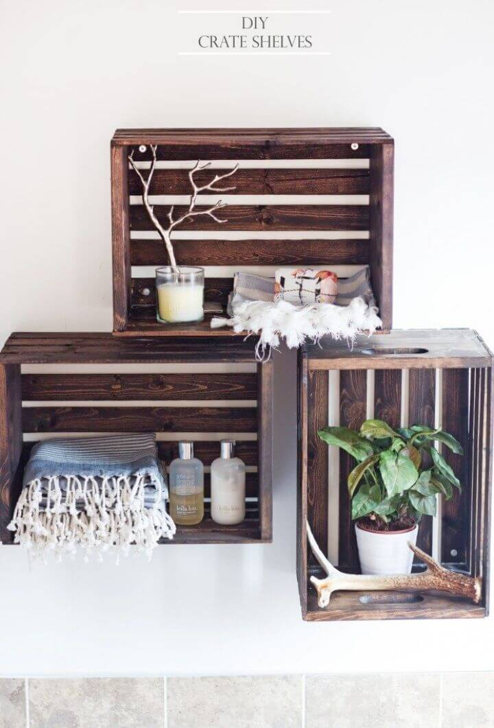 Easy and Quick DIY Crate Shelves