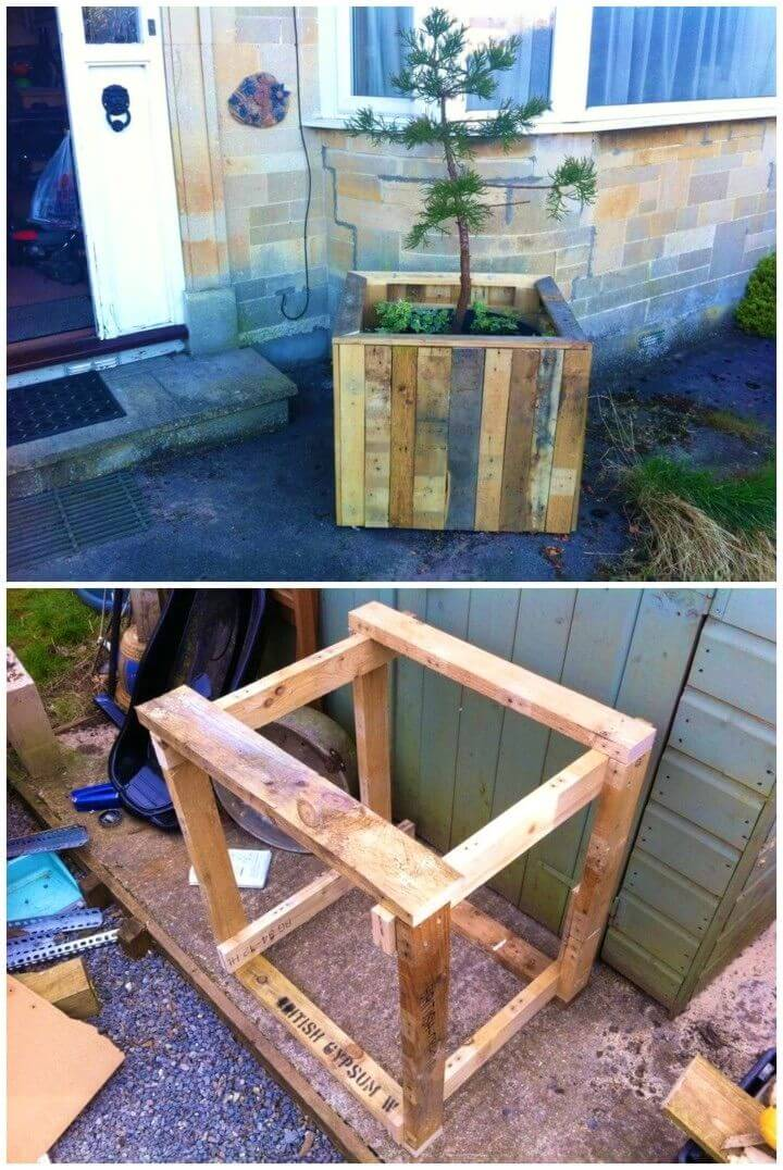Easy and Simple DIY Outdoor Pallet Planter