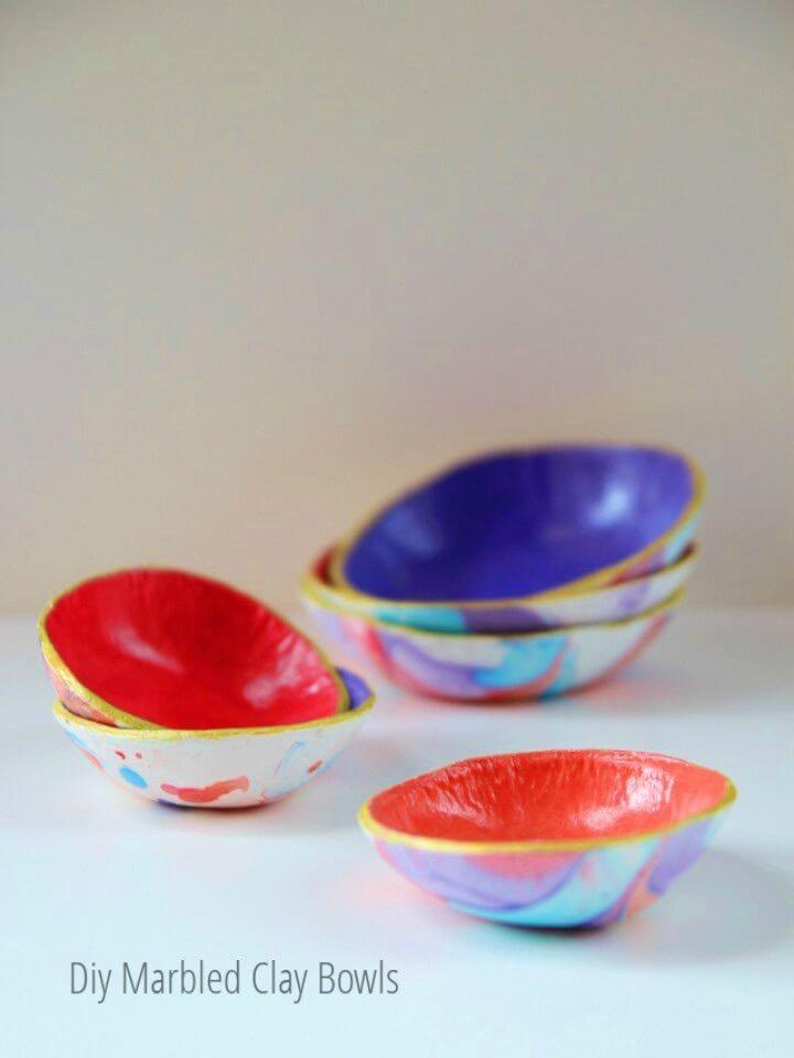 Easy to Make Marbled Clay Bowls