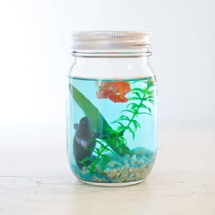 Easy to Make Mason Jar Aquarium