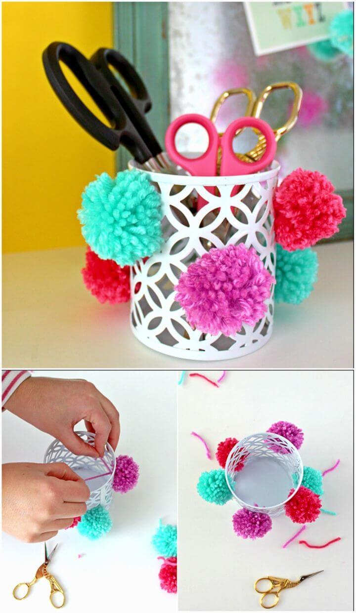 Easy to Make Pom Pom Pencil Cup