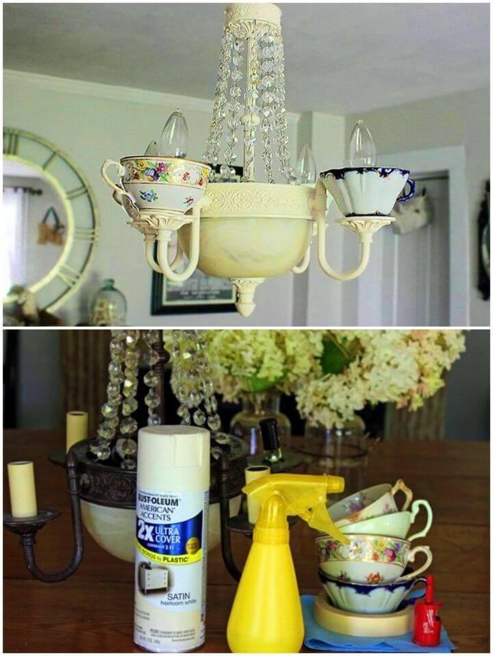 Easy to Make Teacup Chandelier