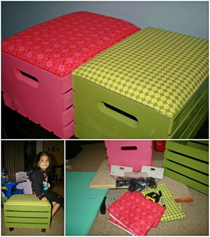 Easy to Make Wooden Crate Ottoman