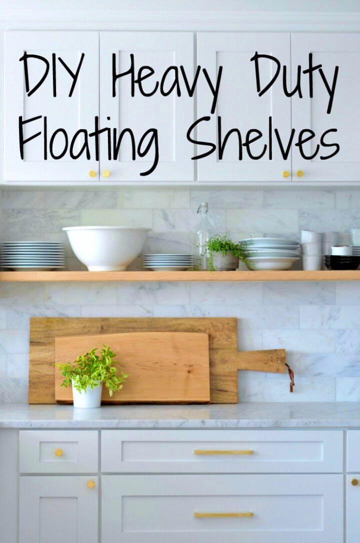 Eye catching DIY Heavy Duty Floating Kitchen Shelves