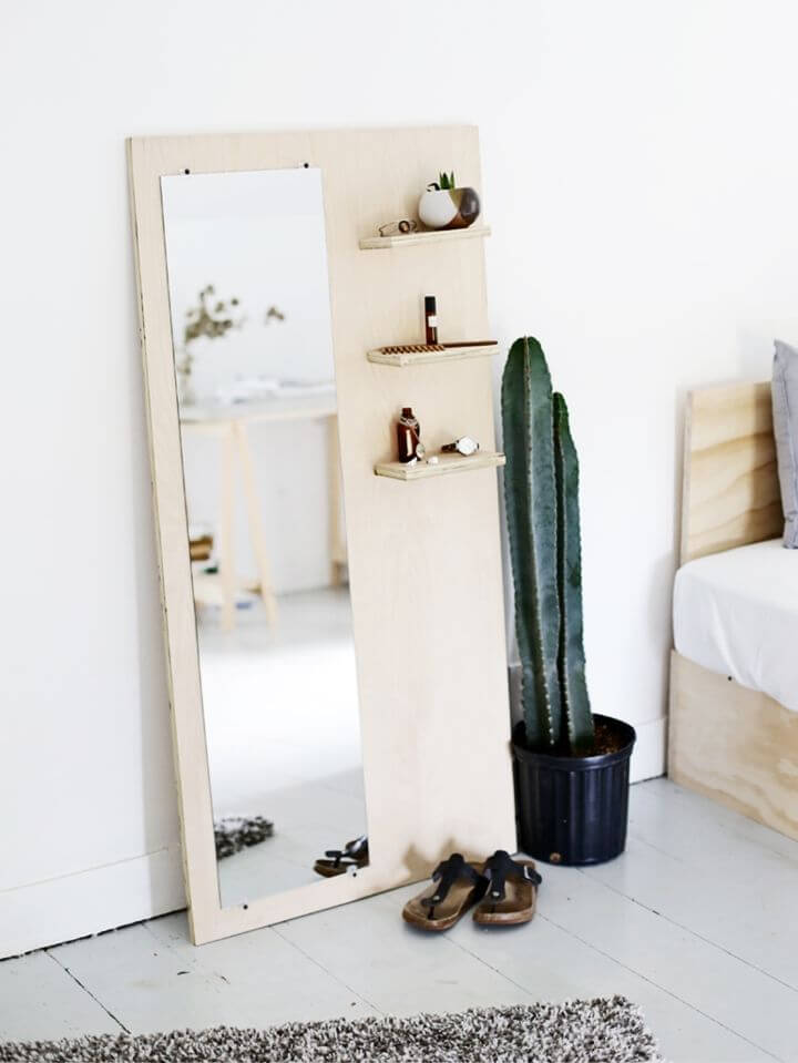 Eye catching DIY Plywood Floor Mirror