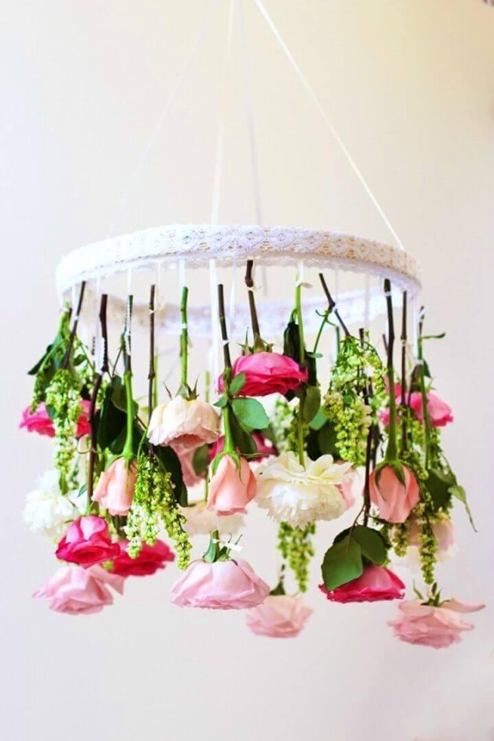 Fresh DIY Flower Chandelier