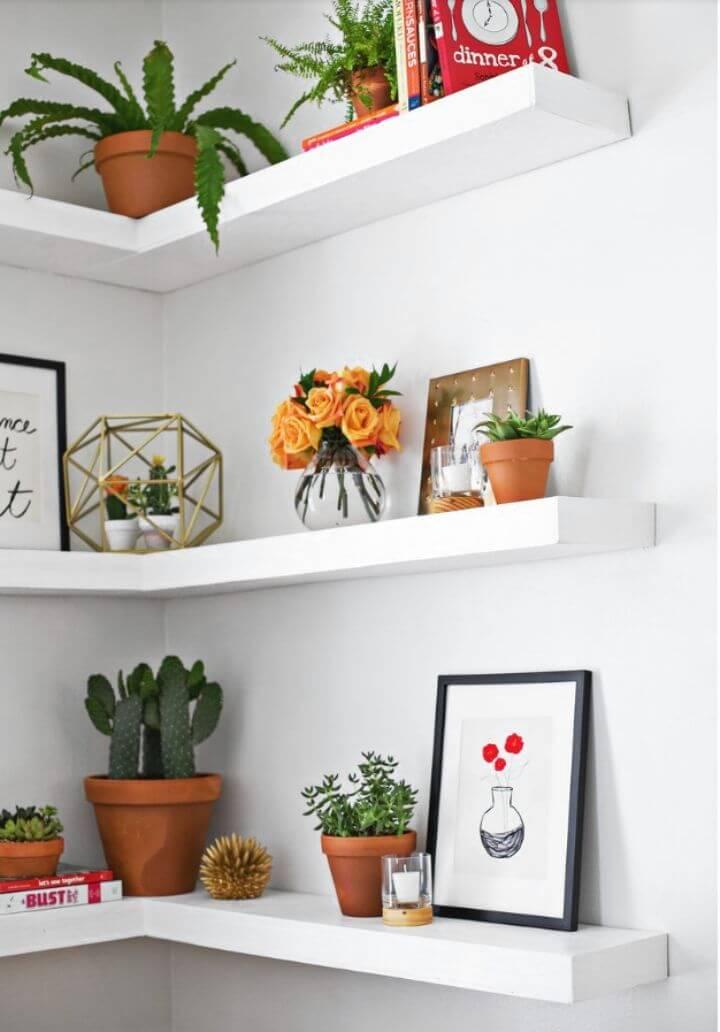 Gorgeous DIY Floating Corner Shelves